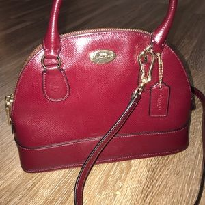 Coach Small Dome Deep Red Purse Satchel Bag